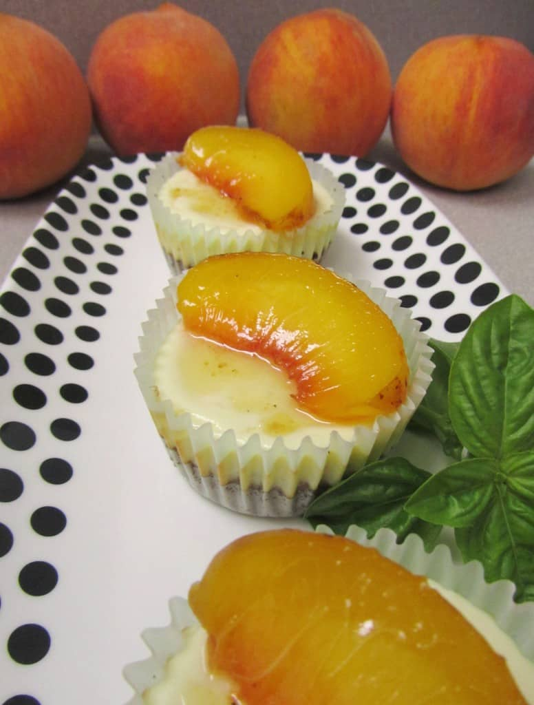 Goat Cheese Cheesecake goat cheese cheesecake with basil roasted peaches | the spiffy cookie