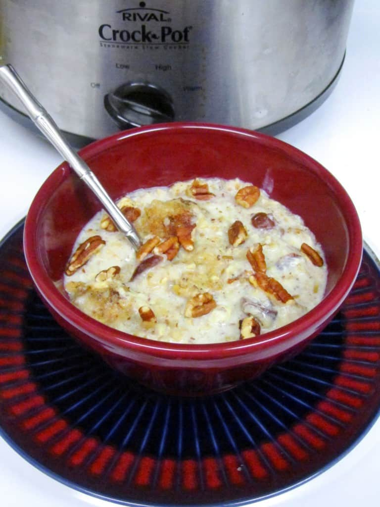 Slow Cooker Eggnog Cranberry Steel-Cut Oatmeal