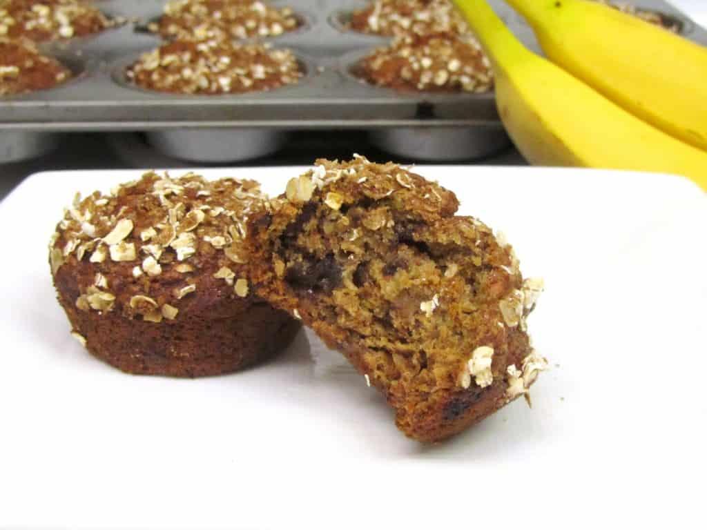 Healthier Dark Chocolate Chunk Banana Muffins