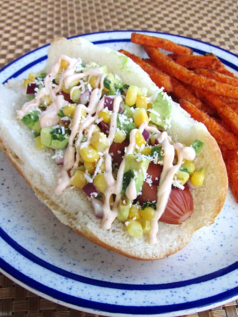 Mexican Hot Dogs With Corn Salsa And Chipotle Cream The