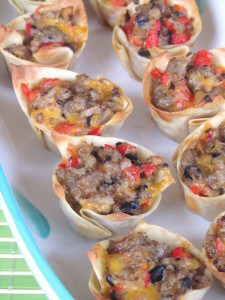 Sausage and Cheese Wonton Cups