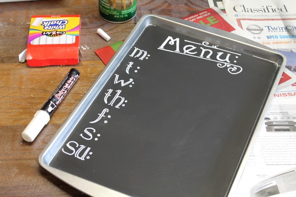 DIY Cookie Sheet Chalk Board 5
