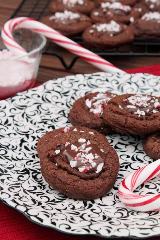 Peppermint Dark Chocolate Peanut Butter Thumbprint Cookies The