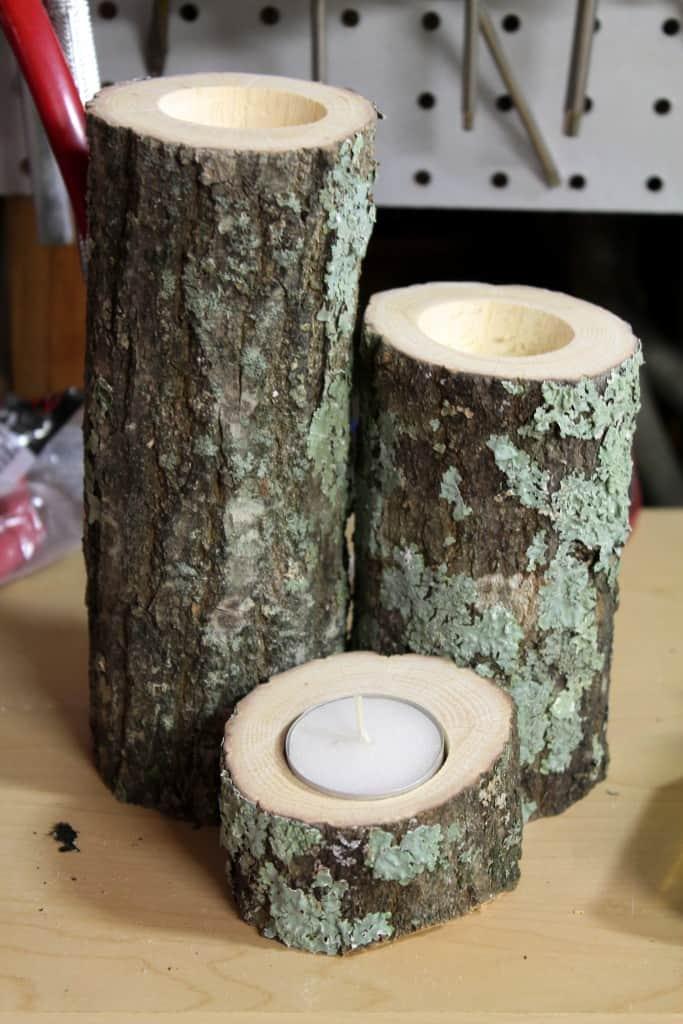 diy wood candle holders the spiffy cookie. Black Bedroom Furniture Sets. Home Design Ideas