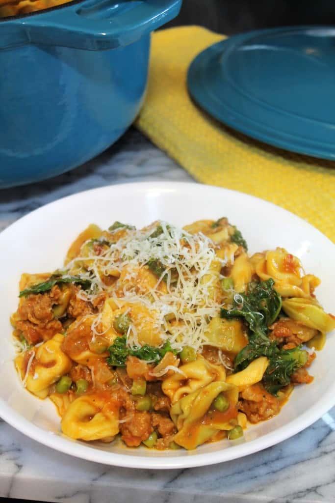 One-Pot Tortellini with Sausage, Kale & Peas 3