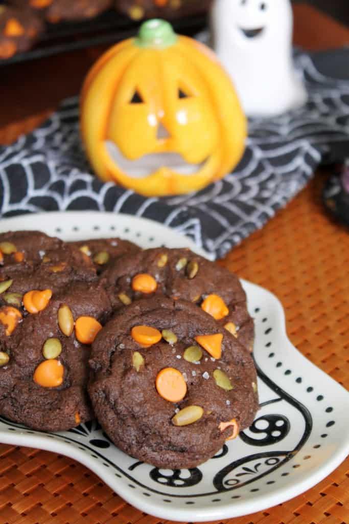 Chocolate Double Pumpkin Chip Cookies 2