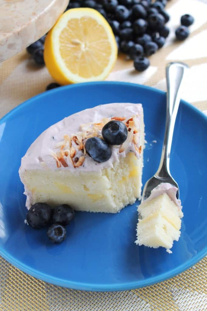 Lemon Coconut Cake with Blueberry Frosting 3