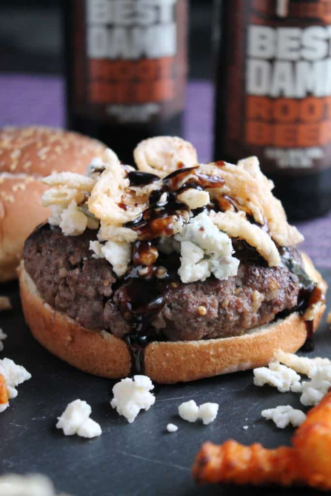 Hard Root Beer Burgers with Blue Cheese and Crispy Onions 2