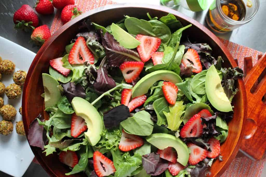 Strawberry Avocado Salad with Pistachio-Crusted Goat Cheese 2