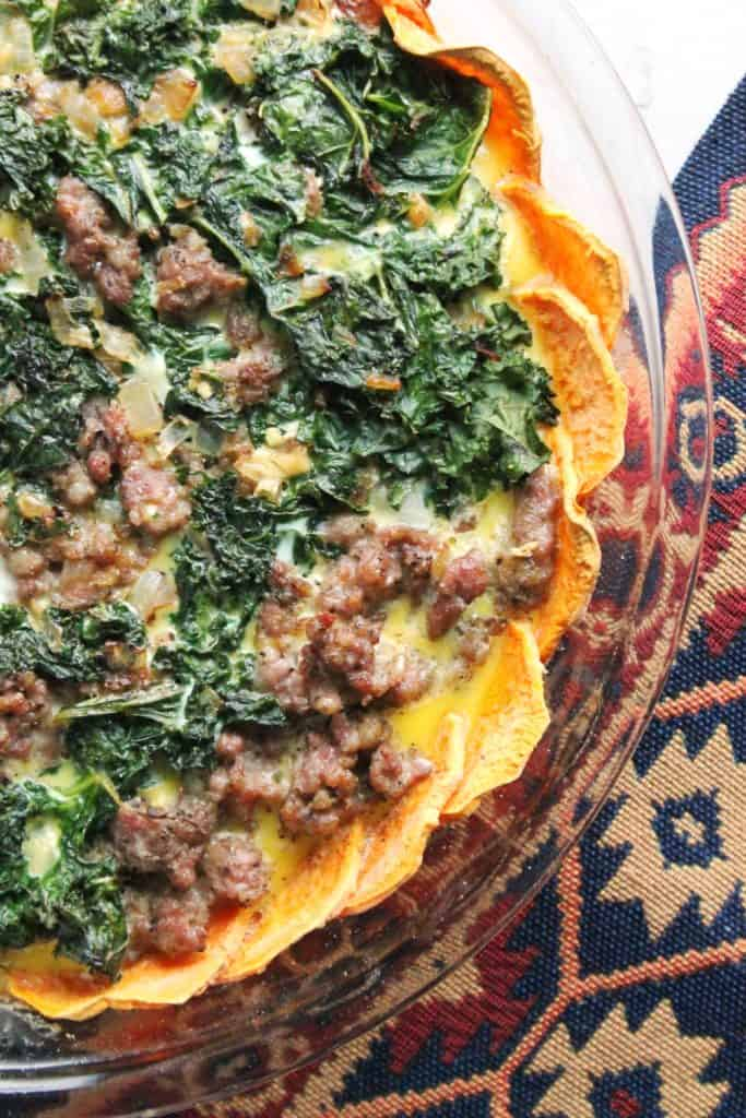 Sausage & Kale Quiche with Sweet Potato Crust 2