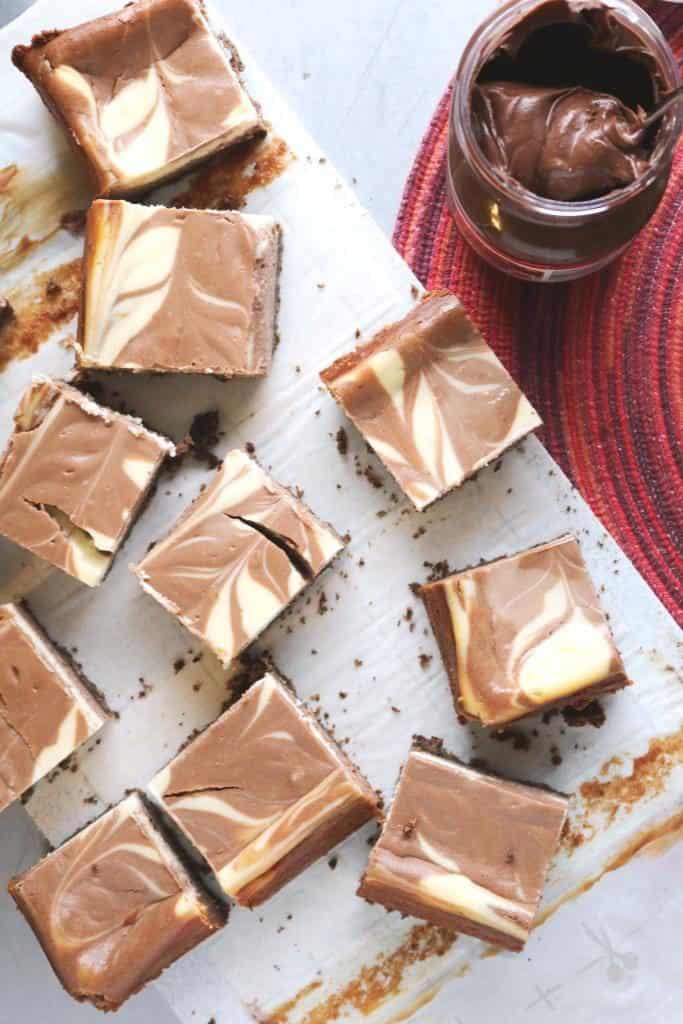 Nutella Swirl Cheesecake Bars 3C